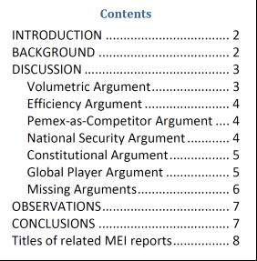 Market Note 178 contents